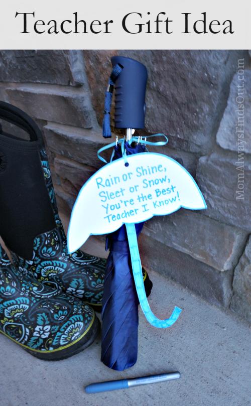Teacher Gift Idea: Umbrella with Simple Appreciation Poem #BICMerryMarking #MistyBlue #ad