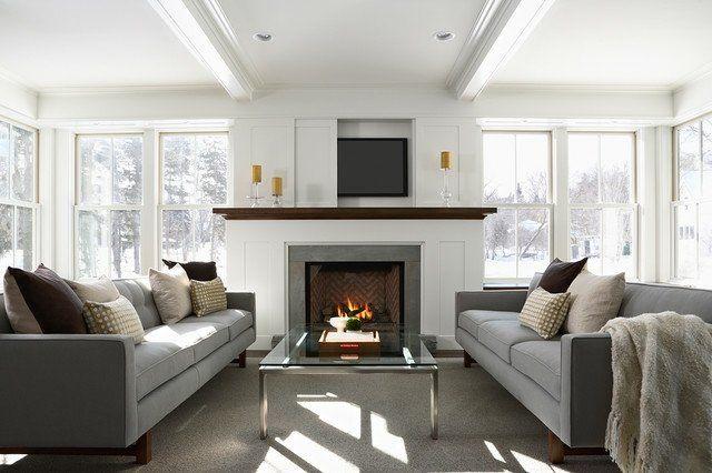 Fixation murale tv et cheminée sur le même mur en 39 idées Salons