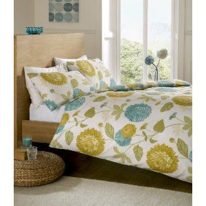 pollen green blue lime floral king bed size duvet cover