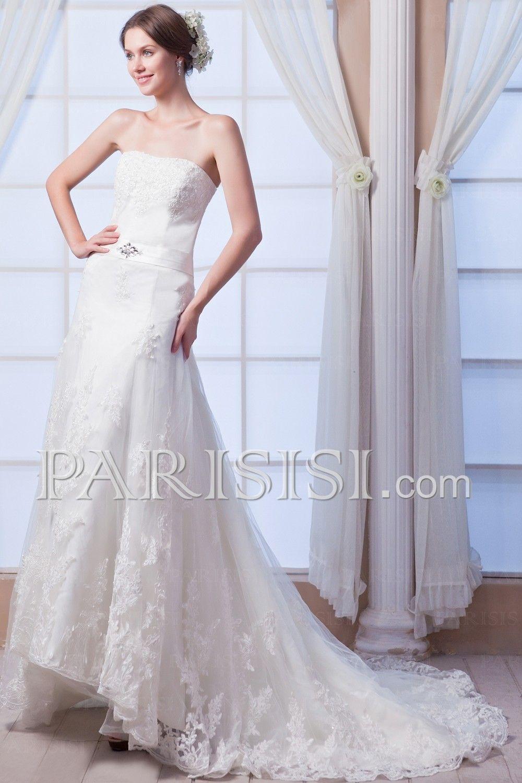 Brautkleider Boden-Länge A-Line Kristalls Lace Sequins Elegant ...
