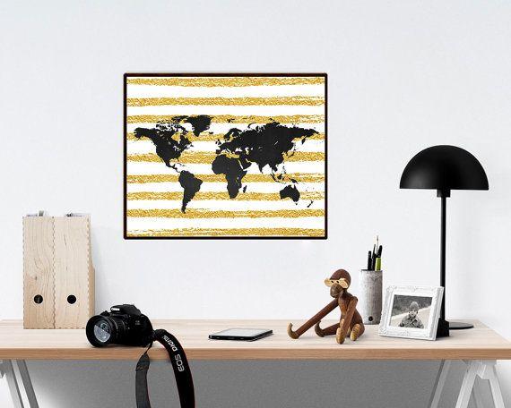 World map poster wanderlust world map gold foil print travel world map of · world map wall artworld