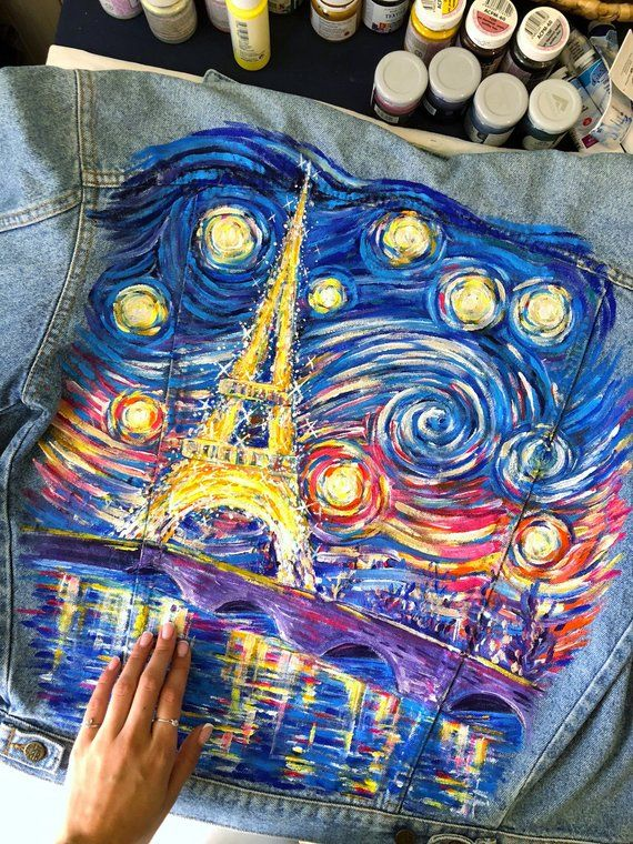 Van Gogh Paris Starry Night painted denim jacket (price for the painting), Custom jacket, one-of-a-kind gift.