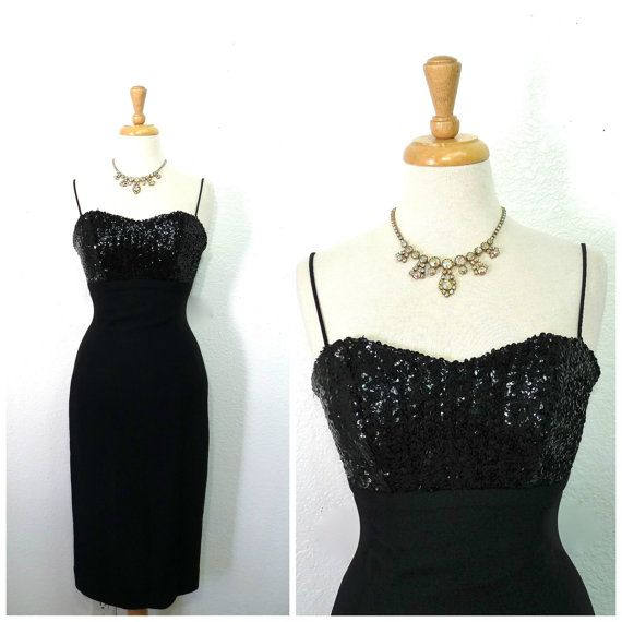 1950s Dress Black Sequin Crepe Sweetheart Jay by KMalinkaVintage