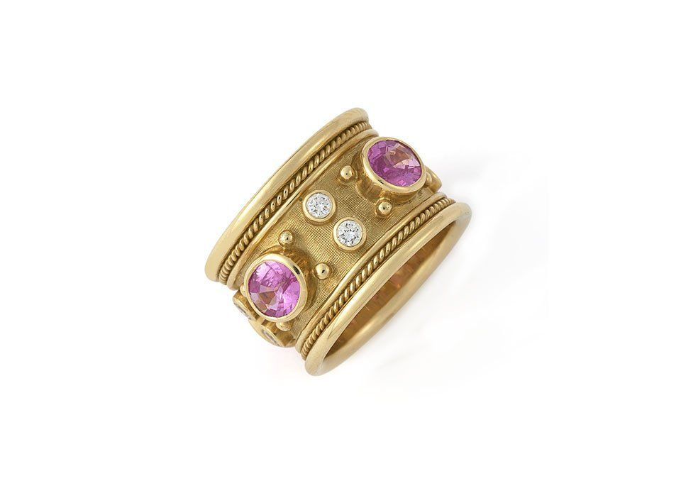 Pink Sapphire Templar Band Ring   Jewelry   Pinterest   Band rings ...