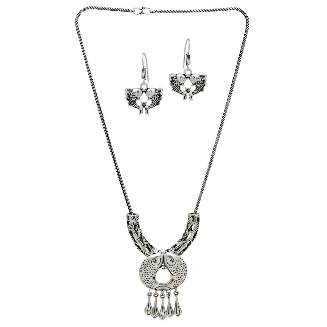 199019327ac38 Oxidised Silver Plated Traditional Necklace With Earrings ...