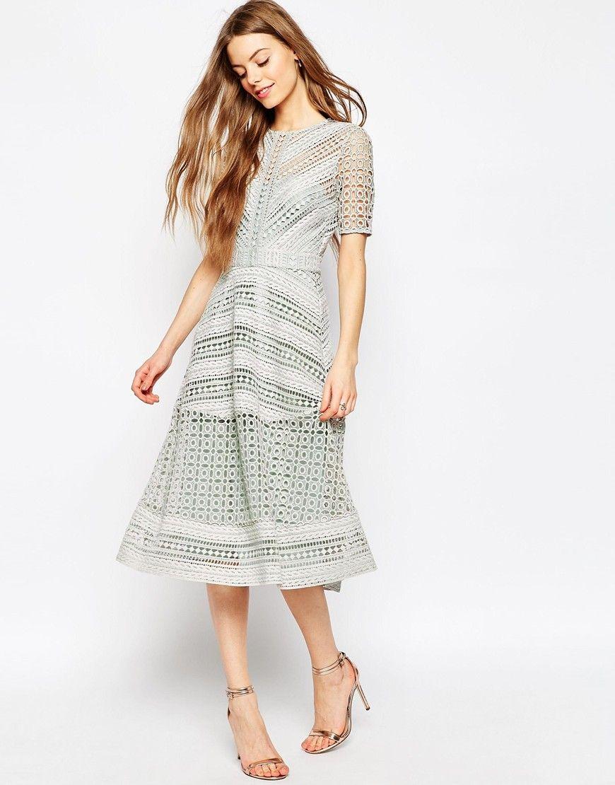 Image 1 of ASOS Premium Occasion Lace Midi Dress