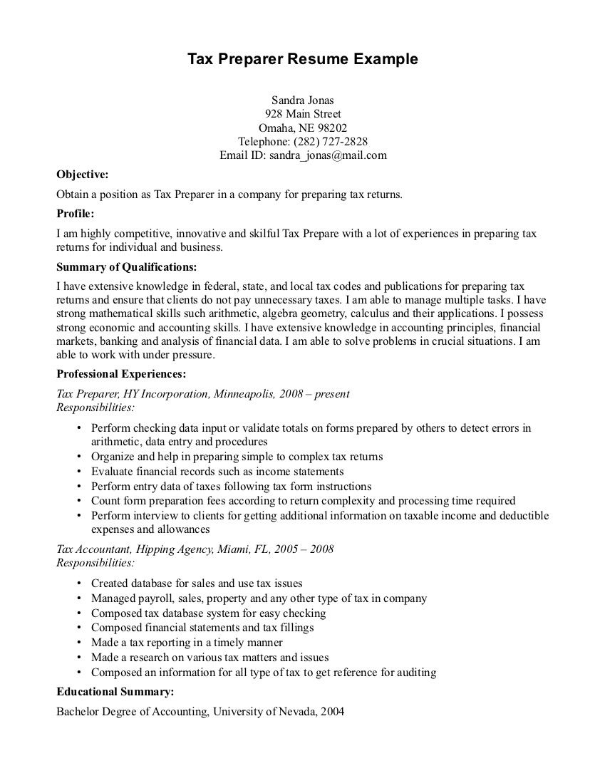Sample Resume Tax Preparer
