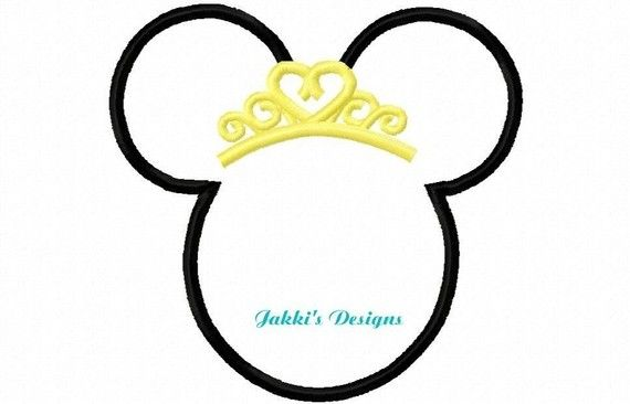 Princess Mouse Ears Embroidery Machine Applique by JakkisDesigns, $4.99