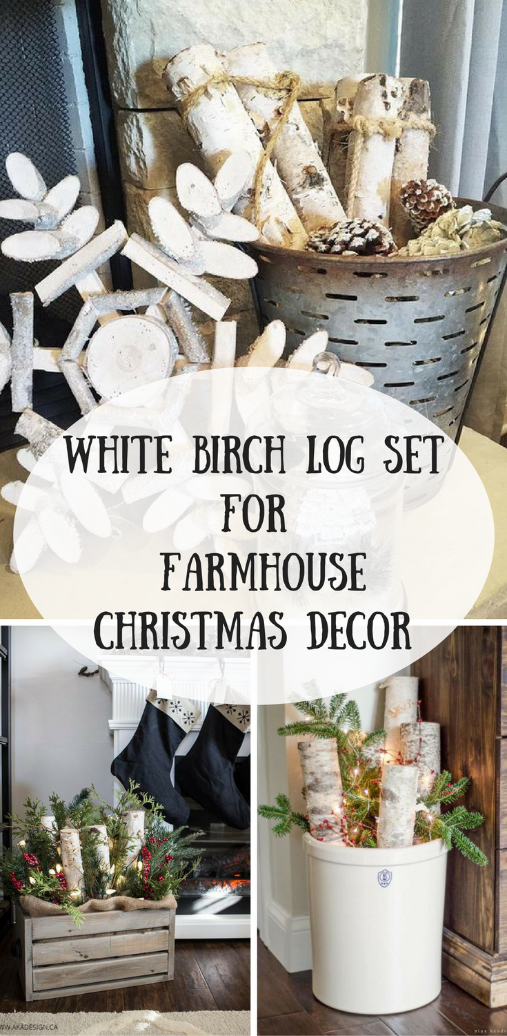White Birch Log Set Perfect For Your Fireplace Or Beautiful Farmhouse Christmas Decor