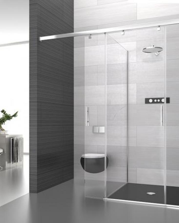 Mampara de ducha perfileria acero inox cristal - Mamparas de bano coruna ...