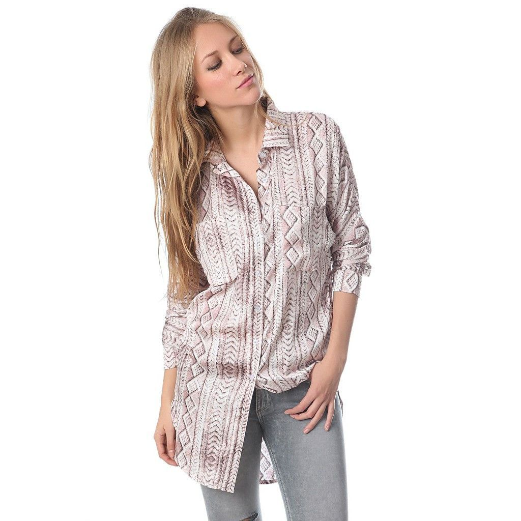 Satin longline shirt in pink abstract print