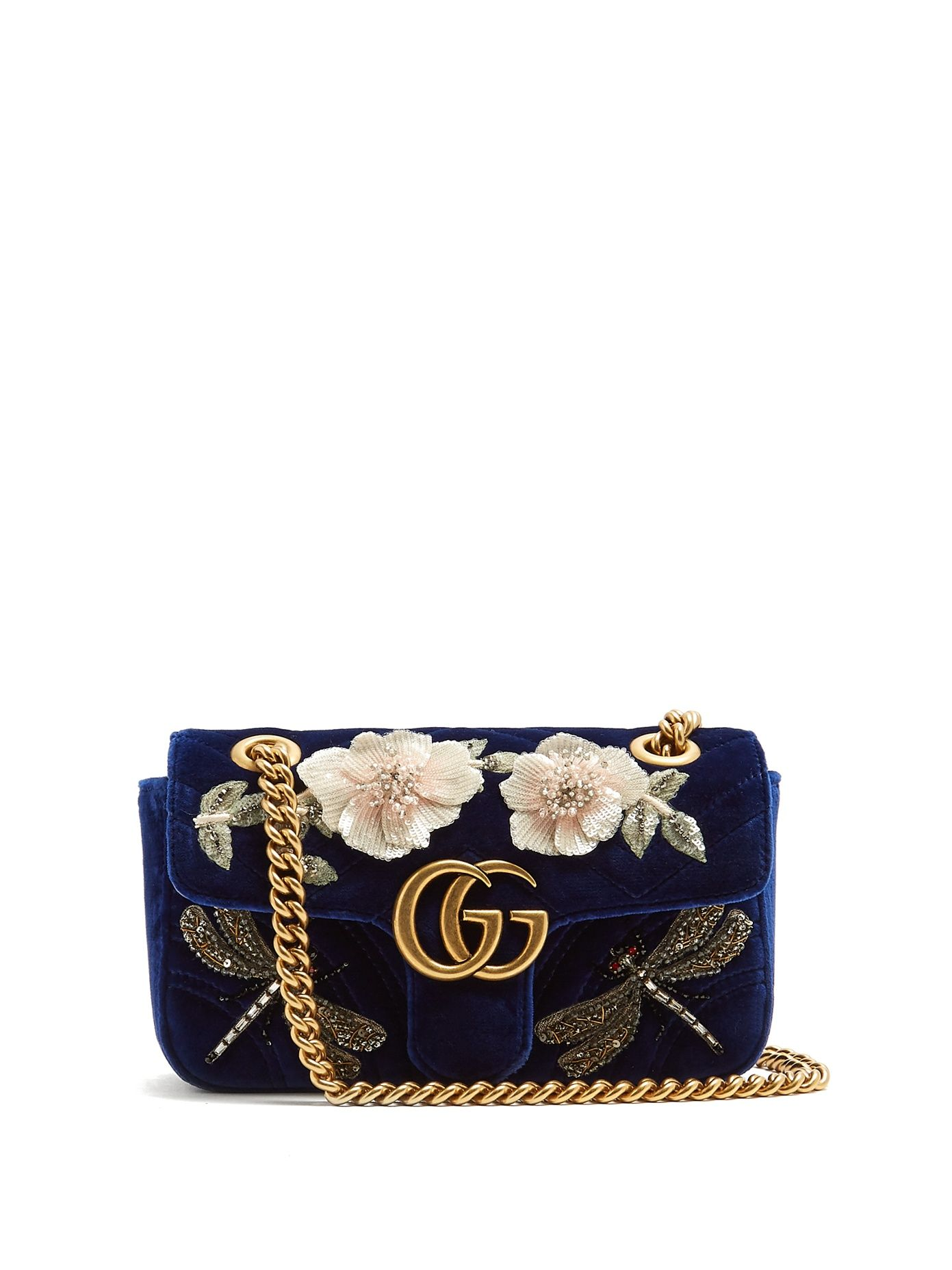 6fc536dc63e1 Gucci GG Marmont mini quilted-velvet cross-body bag- blue velvet with  embroidered dragonfly beaded detailing