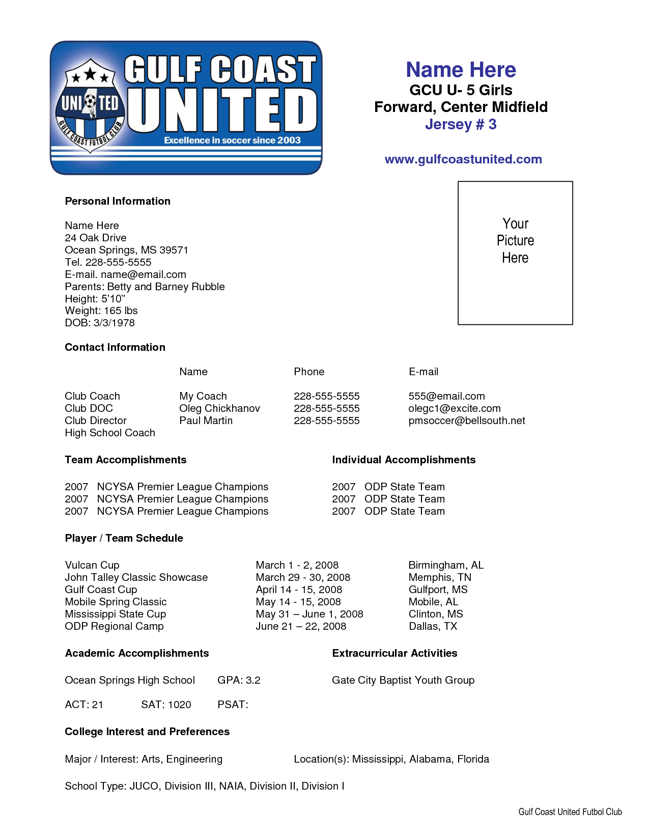 Sample Soccer Resume With Soccer Player Resume