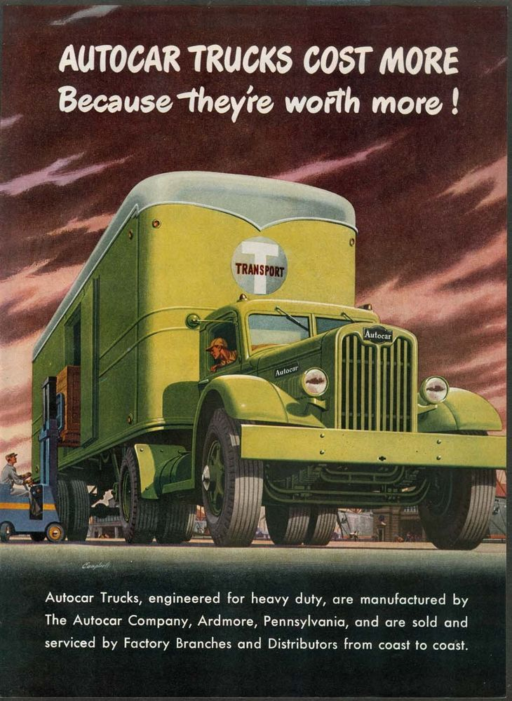 1970 Ford Pickup >> 1946 autocar transport truck ad -cost more/worth more