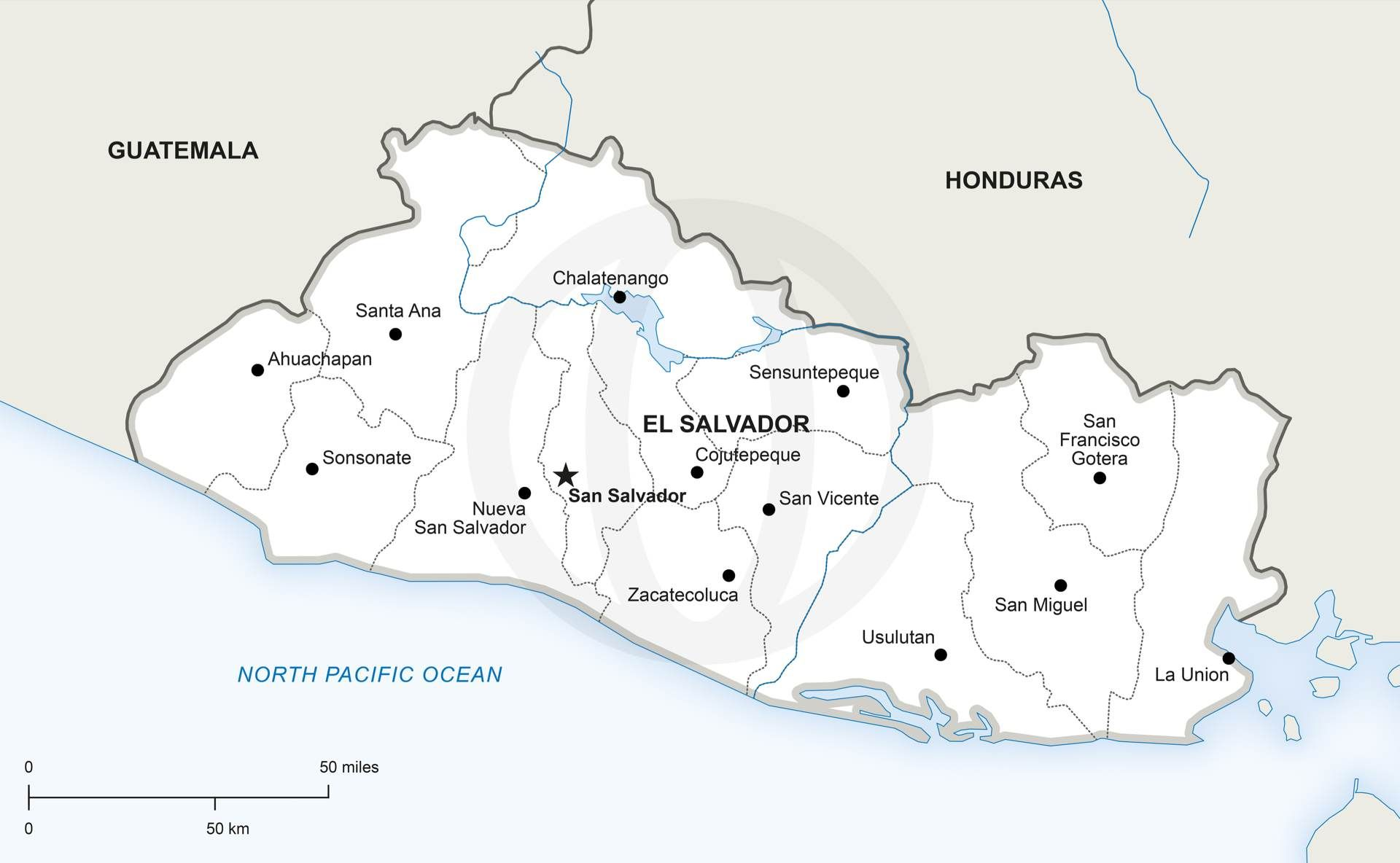 El Salvador political map Royalty free high resolution JPEG and