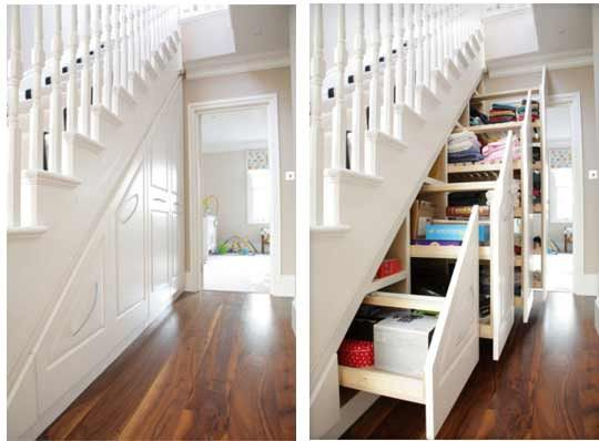 Under the stair storage.  I wish I had a house I could do this with.  I really like this idea.