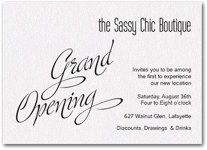White Sparkle Grand Opening  Business Invitation Grand Opening