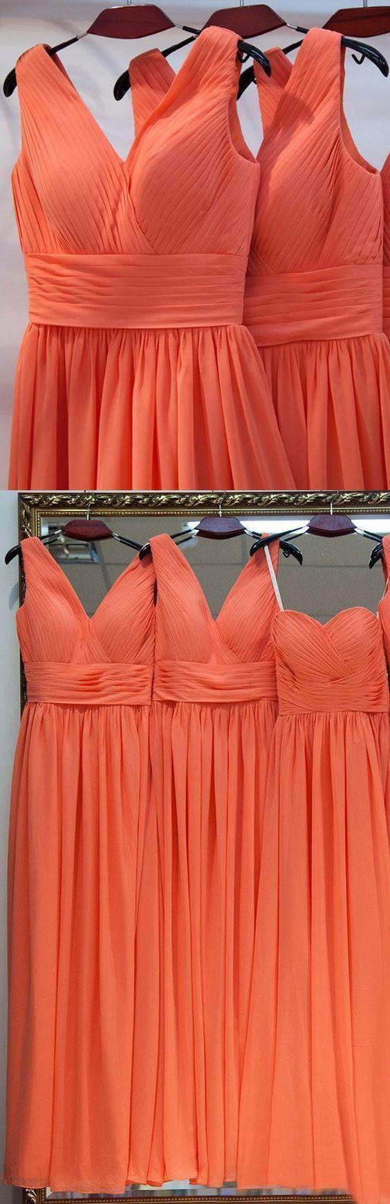 Long coral bridesmaid dresses with ruffles zipper floorlength fancy