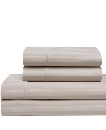 Cooling Cotton Satin Stripe California King Sheet Set Bedding King Sheet Sets Baby Clothes Shops Sheet Sets