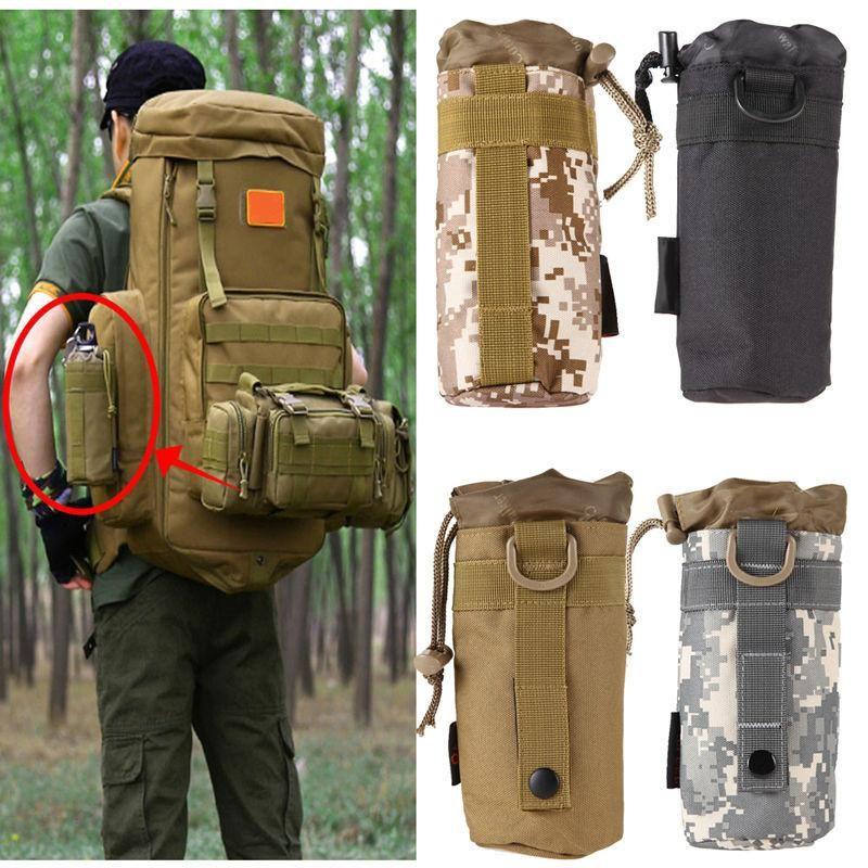 Outdoor Tactical Molle Water Bottle hiking military Holder Bag W// Shoulder Strap