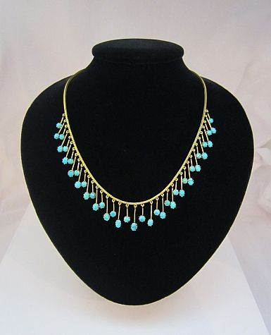 761763e436c7 Antique English 15kt Gold Persian Turquoise Necklace