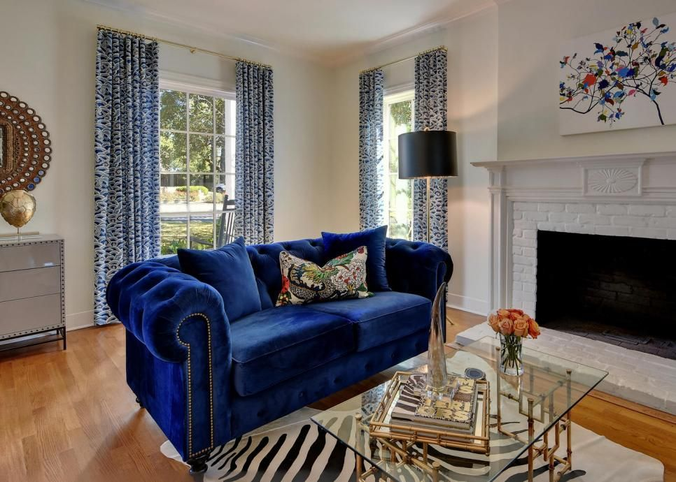 Eclectic Living Room With Blue Sofa | Eclectic living room ...
