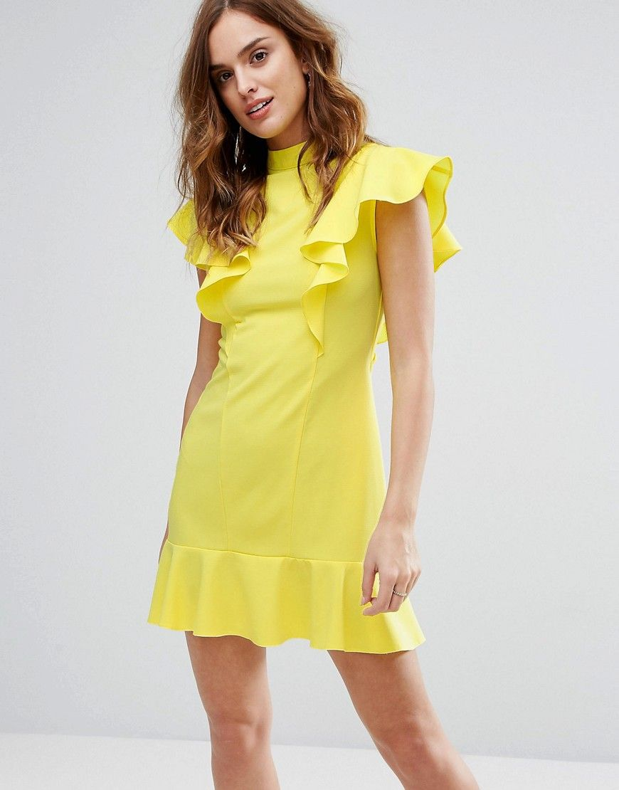 Closet London - Rüschenkleid mit Schößchen - Gelb Jetzt bestellen ...