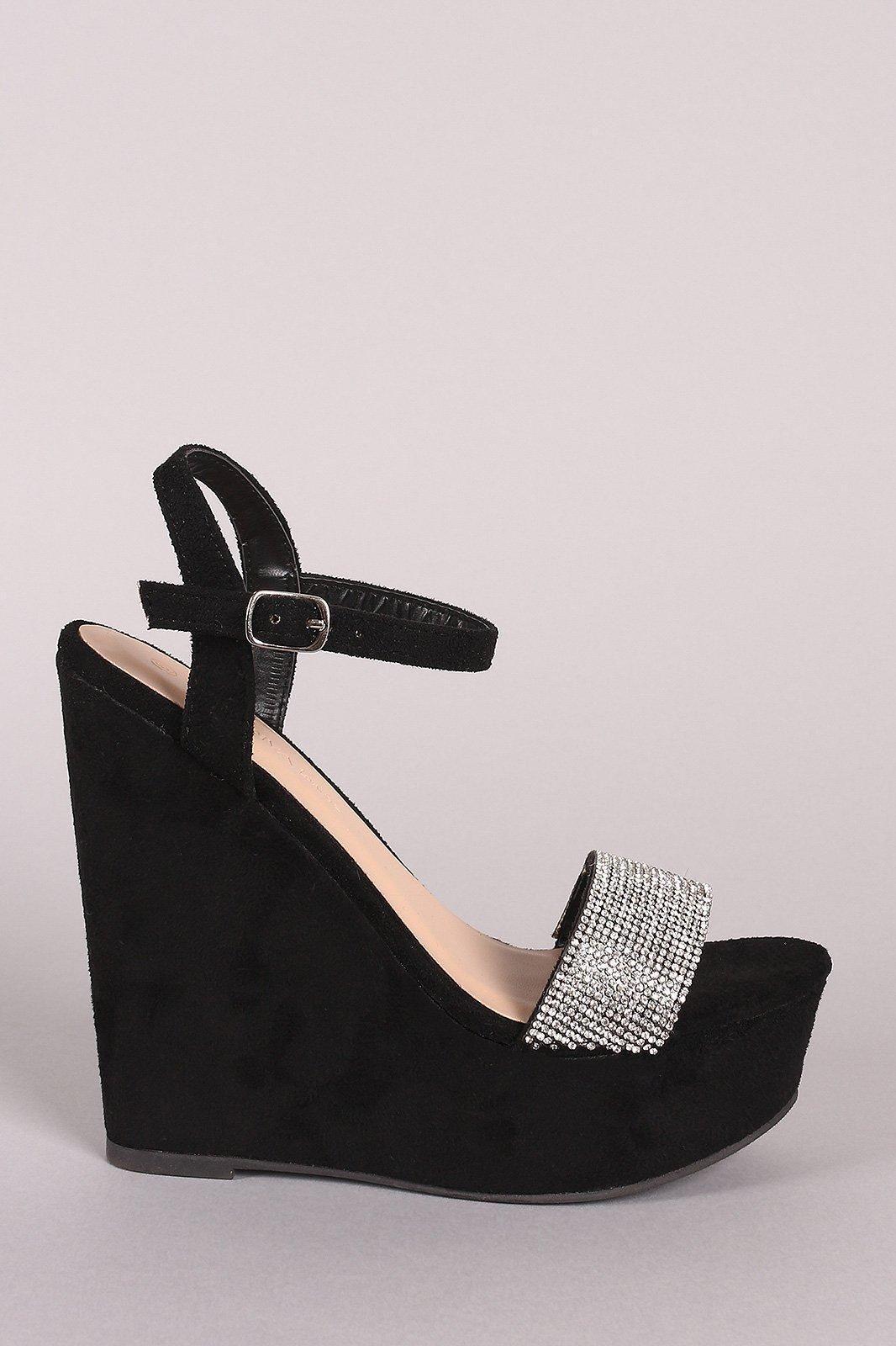 5a151b6b5 Wild Diva Lounge Suede Rhinestone Ankle Strap Platform Wedge