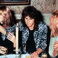 Queen at after show party with Aerosmith in 1976.