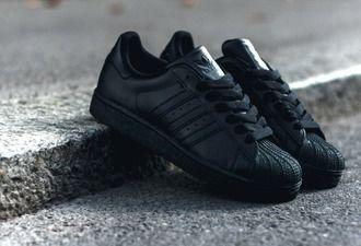 adidas superstar black sneakers