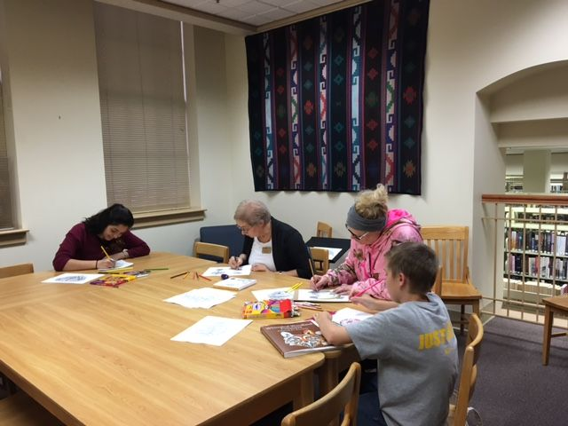 Pendleton Public Library Adult & Teen Coloring Club! The group coloring, Heather not pictured.