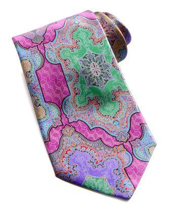 Quindici Moroccan-Print Silk Tie, Fuchsia  by Ermenegildo Zegna at Neiman Marcus.