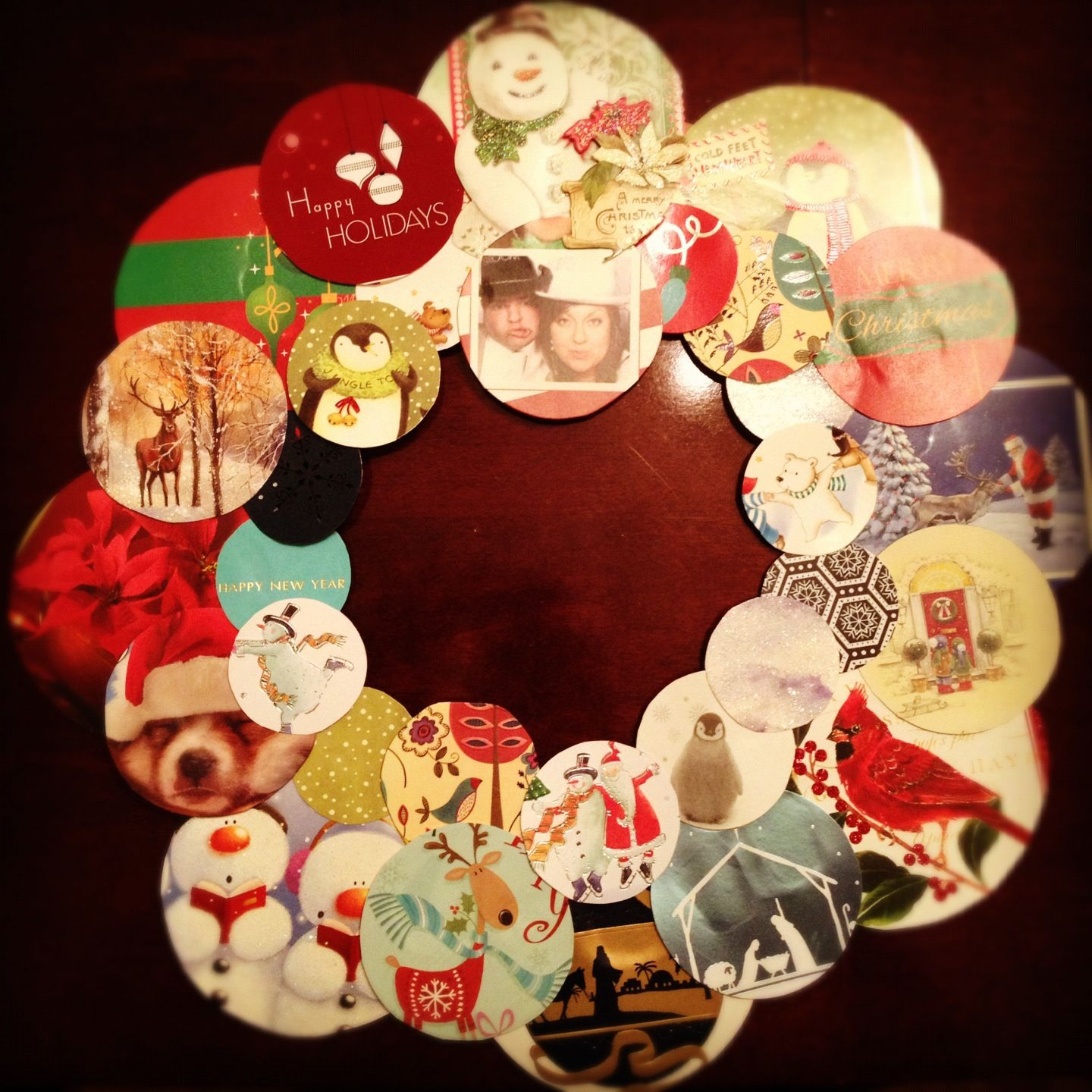 Recycled Old Christmas Cards To Make A Wreath