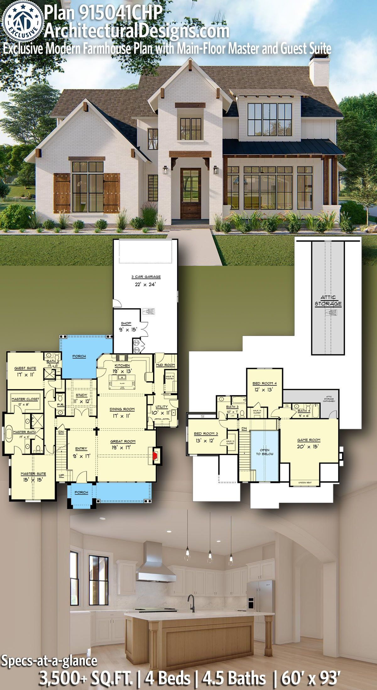 Plan CHP Exclusive Modern Farmhouse Plan with Main Floor Master and Guest Suite