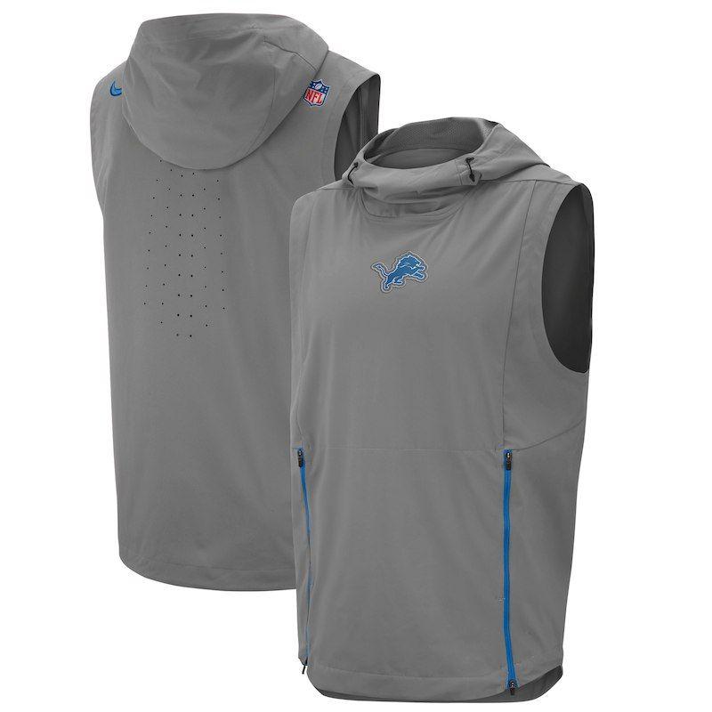 76c3e8f57 Detroit Lions Nike Sideline Fly Rush Performance Pullover Hooded Vest - Gray