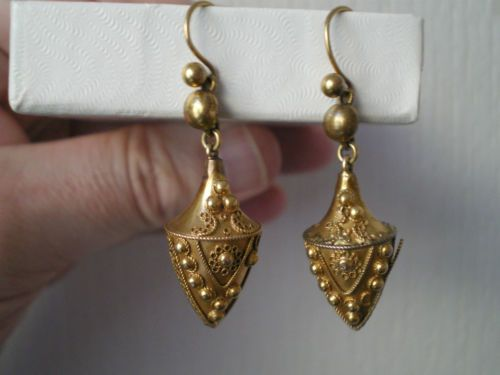 Fine-Victorian-15ct-Gold-Etruscan-Decorated-Drop-Earrings-on-French-Wires-c1875