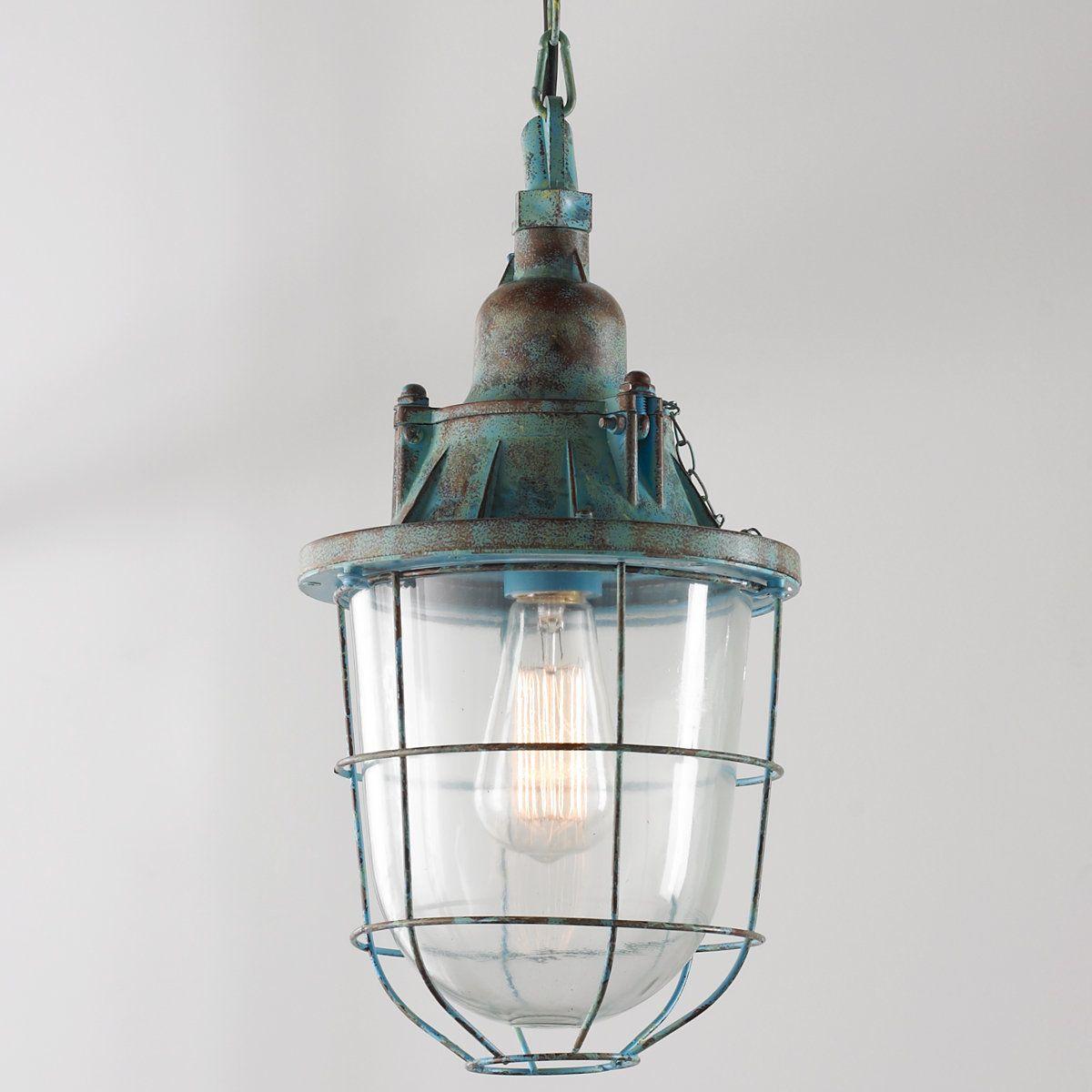 Distressed industrial hanging lantern pendant lantern pendant distressed industrial hanging lantern pendant distressedturquoise mozeypictures Images