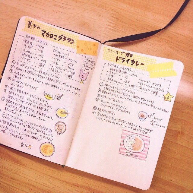 私の レシピノート ( ¨̮ ) お気に入りのレシピとかを ノート