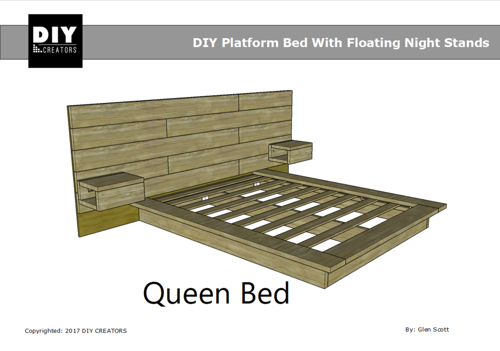 Queen DIY Platform Bed With Floating Night Stands Diy