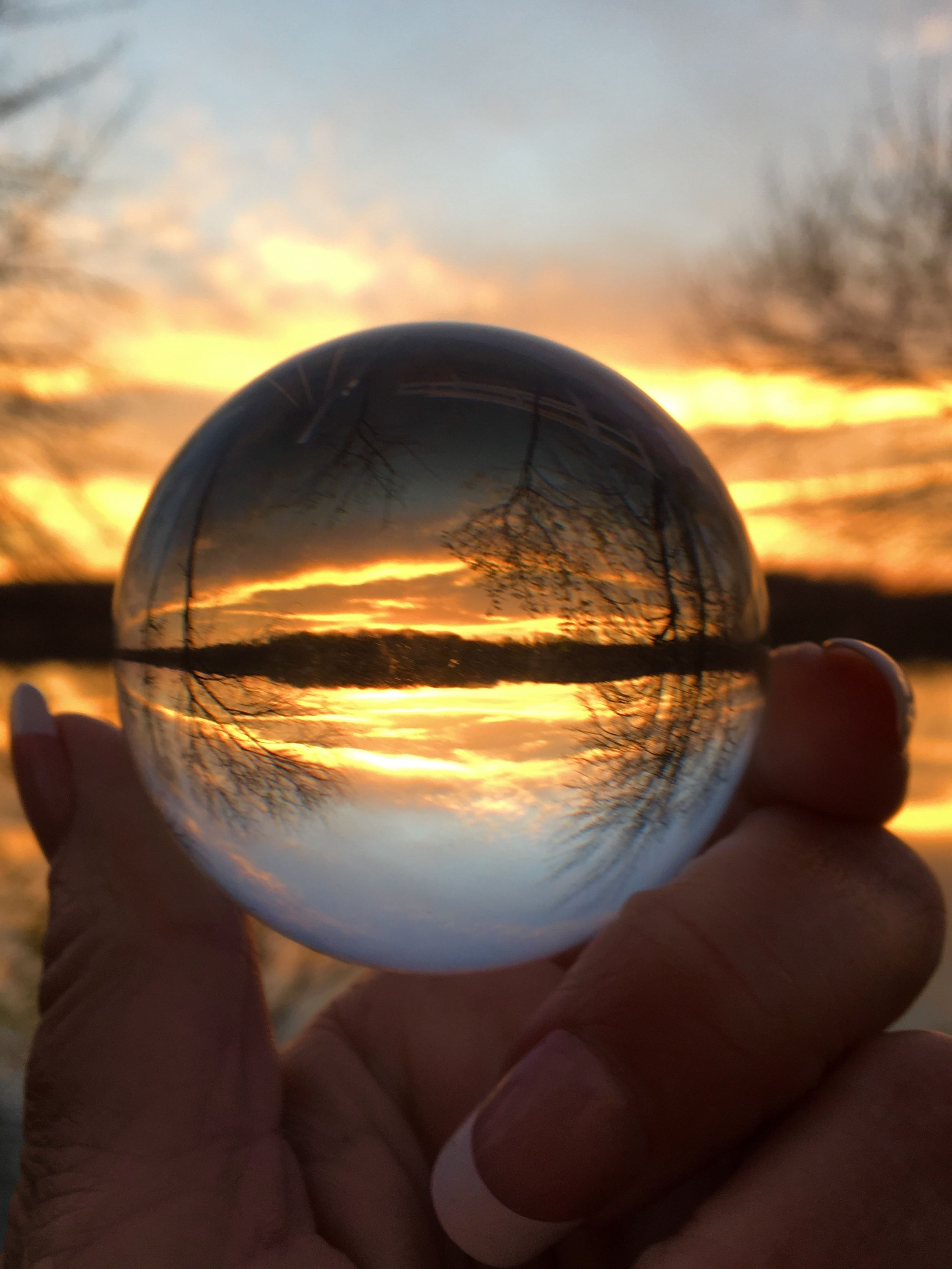 sunset in a crystal ball