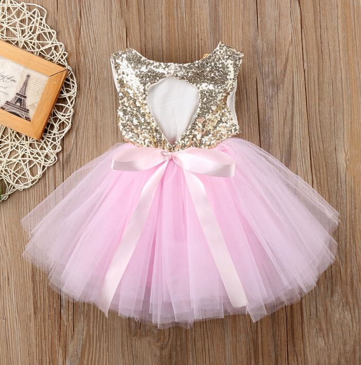 Pageant Kids Baby Girl Princess Dress Tutu Tulle Back Hollow Out Party Dress Pink Red Ball Gown Formal Dresses Outfits | nabitoo.com