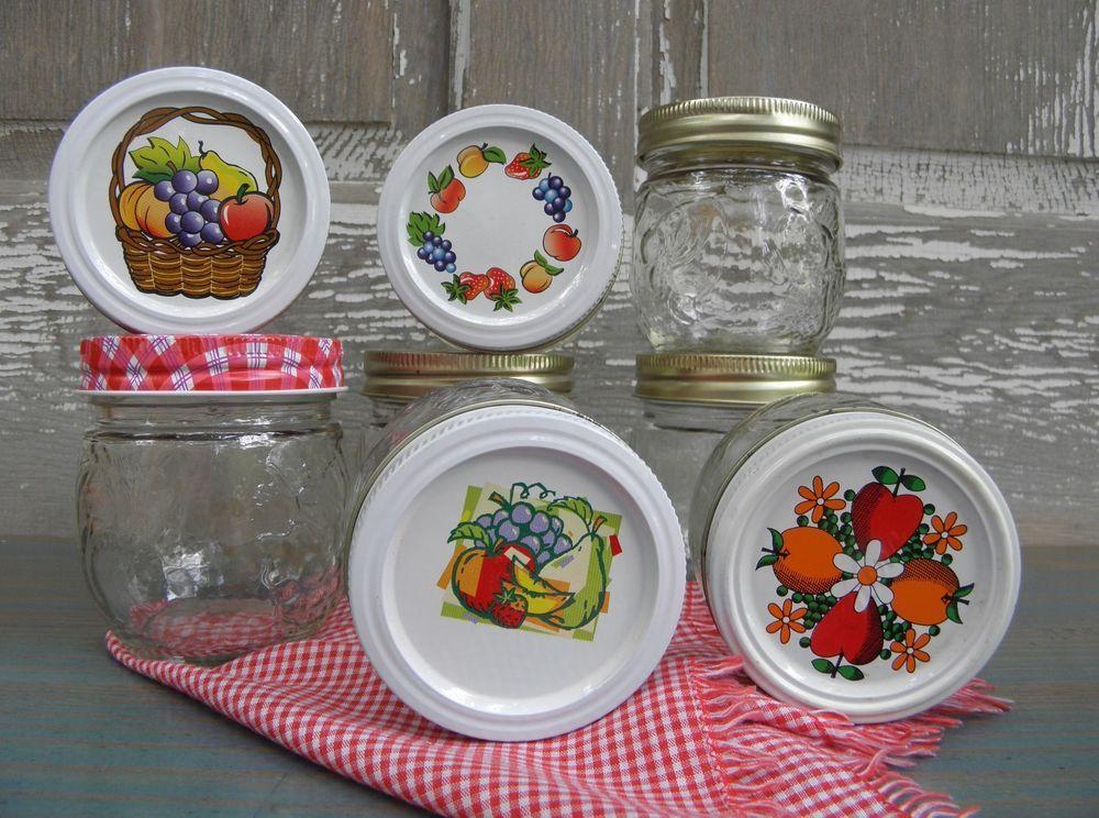 8 Vintage Kerr Fruit Embossed Preserving Canning Mason Jars