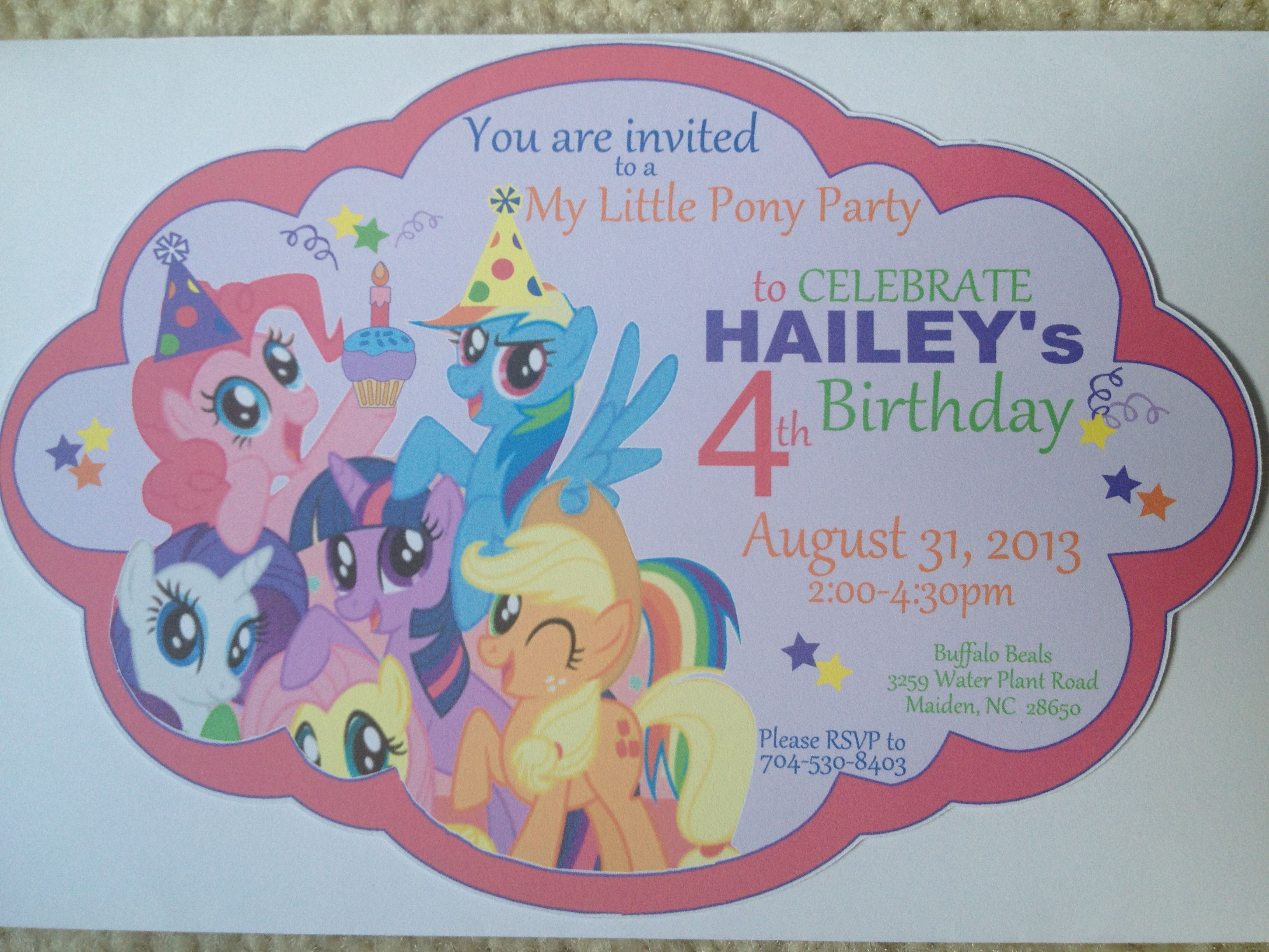 My little pony inspired invitations. Visit my page on Facebook - partywithstaci