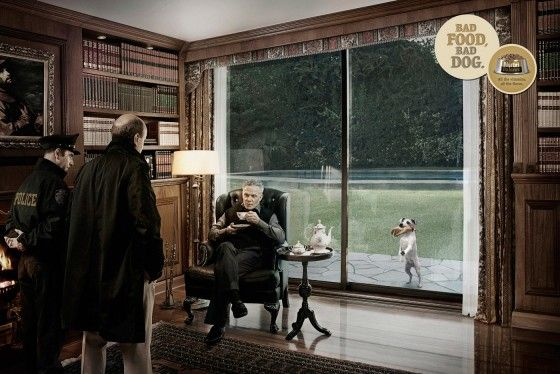 Voorbeeld van de creatieve printcampagne over hondenvoer