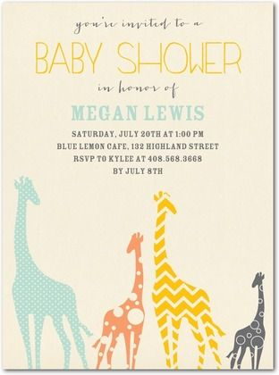 Joyful Giraffes Baby Shower Invitations in Almond Tallulah