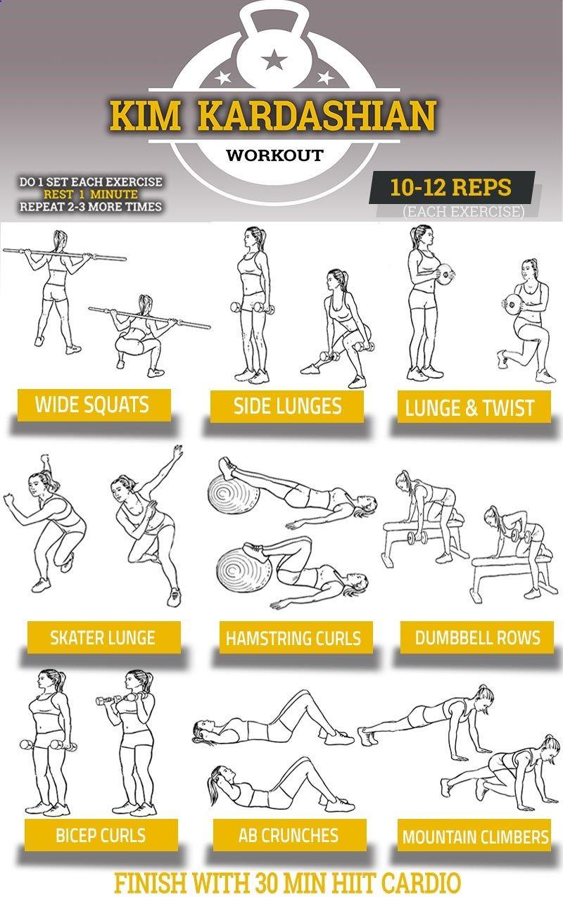 Kim kardashian workout chart pop workouts the kim