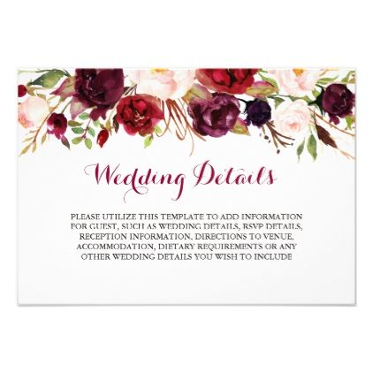 Floral burgundy wedding reception details invitation floral burgundy wedding reception details card wedding invitations cards custom invitation card design marriage party stopboris Images