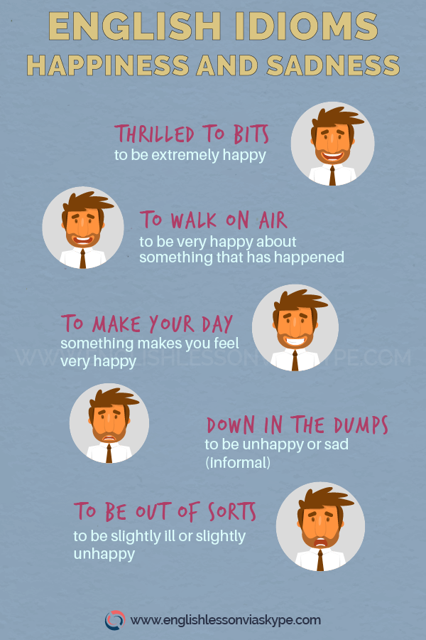 English Idioms About Happiness And Sadness How To Talk About Happiness In English English Vocabulary Ingles Learn English Idioms Idioms English Vocabulary
