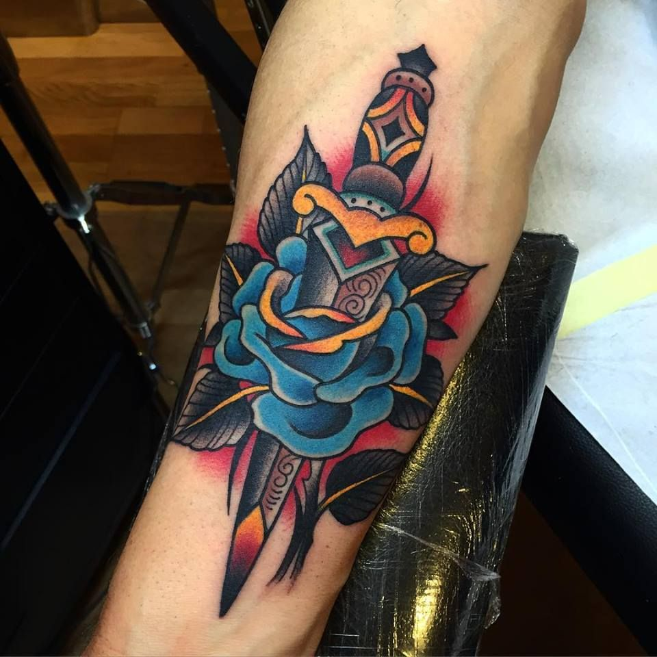 5795cb708 Traditional Dagger Rose Tattoo On Forearm by Samuele Briganti | Lost ...