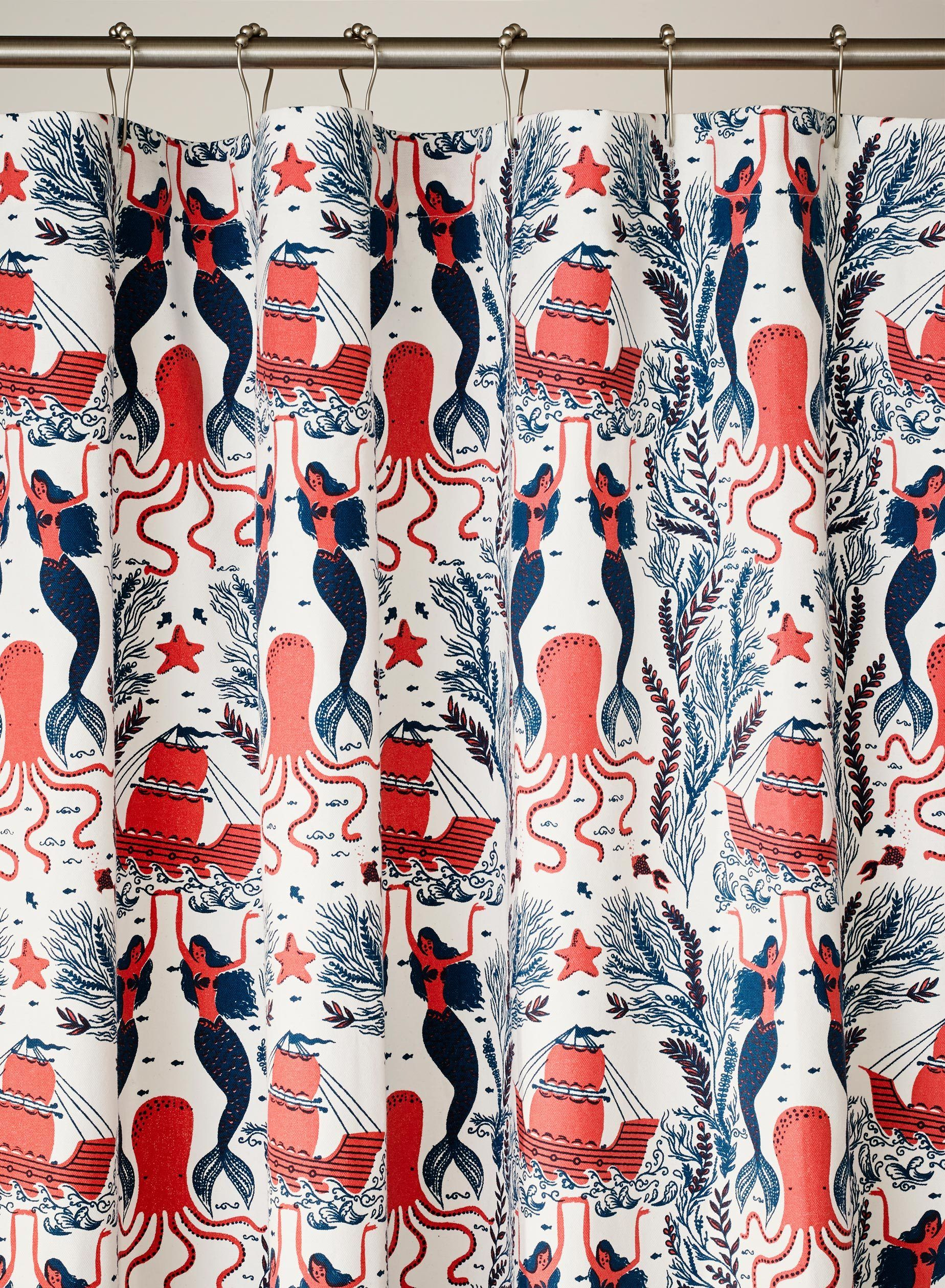 Mermaids Red Coral Shower Curtain Coral Shower Curtains